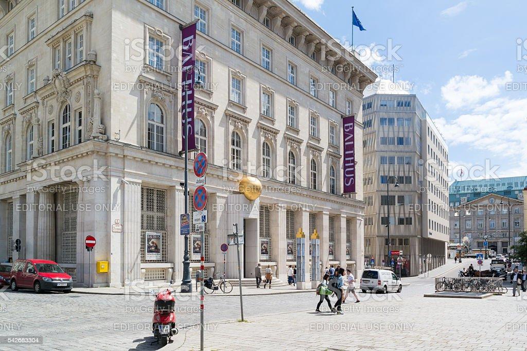 Freyung square with Kunstforum in Vienna, Austria stock photo