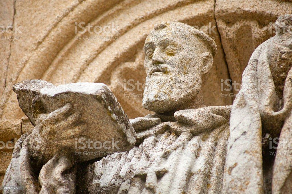 Friar ancient sculpture, Ribeira Sacra monastery, Galicia, Spain. stock photo
