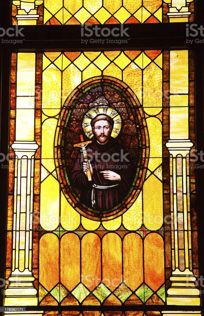 Friar Junipero Serra Stained Glass Immaculate Conception Church California stock photo