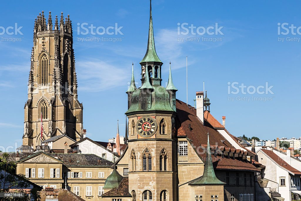 Fribourg cathedral in Switzerland stock photo