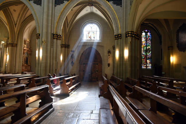 Fribourg Cathedral - inside stock photo