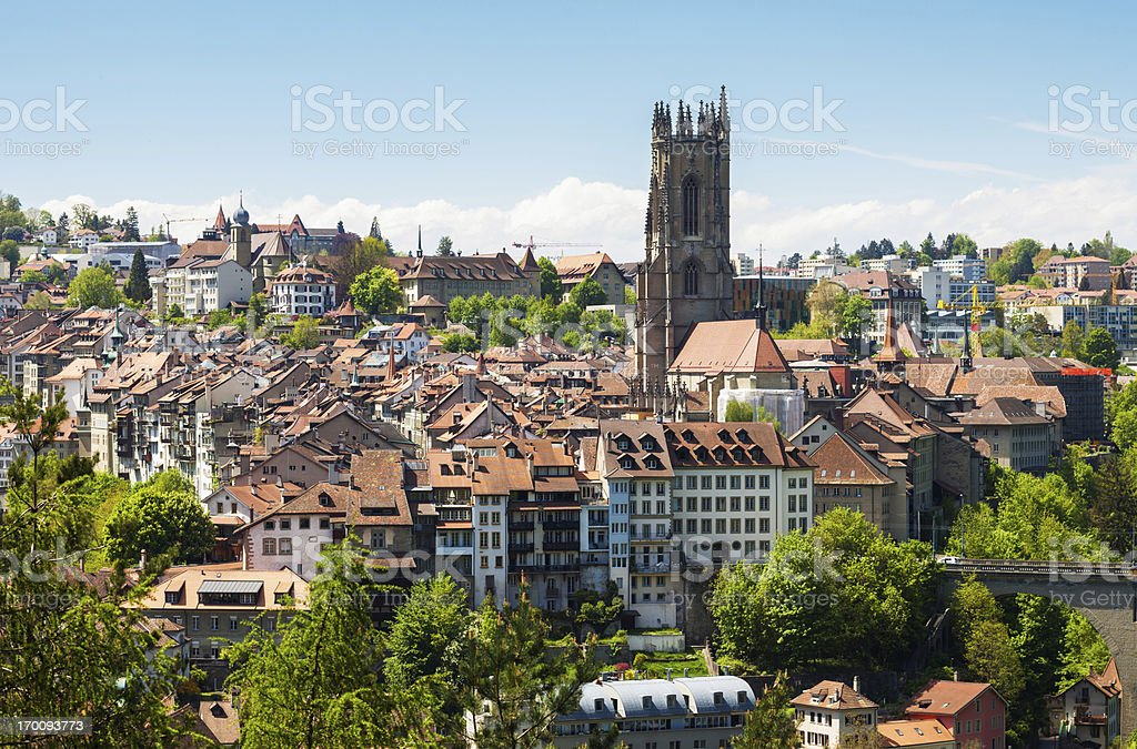 Fribourg city old buildings stock photo