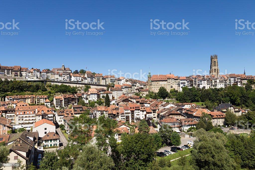 Fribourg cityscape  in Switzerland stock photo