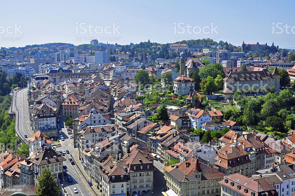 Fribourg cityscape stock photo