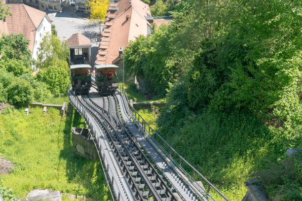 Freiburg, FR/Schweiz/30. Mai 2019: Die historische Seilbahn zwischen Ober-und Unterburg in der Altstadt – Foto