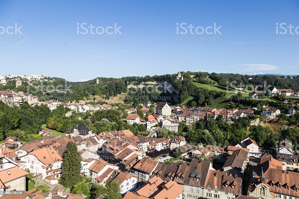 Fribourg old town in Switzerland foto royalty-free