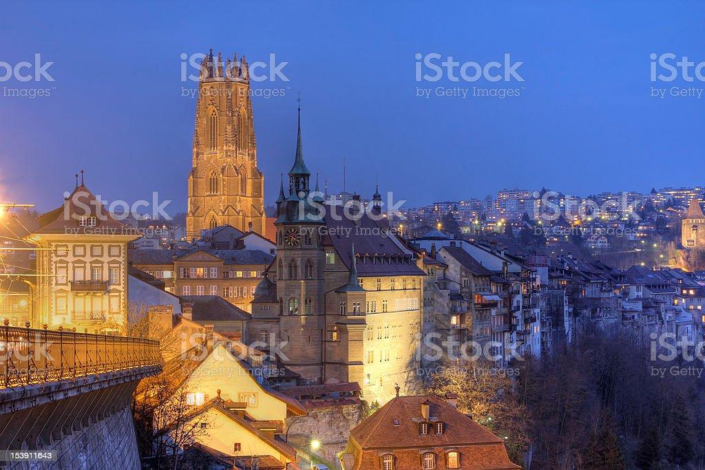 Fribourg skyline at night, Switzerland stock photo