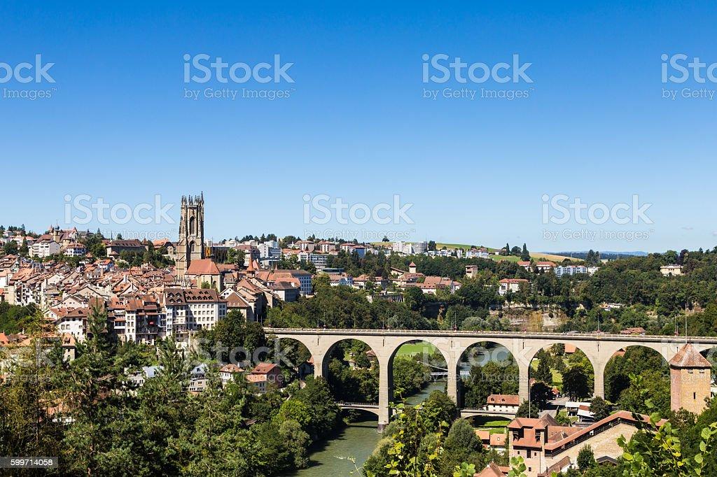 Fribourg skyline stock photo
