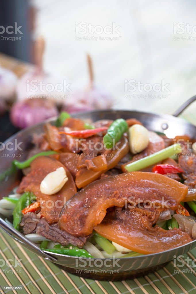 Fricassee pork in iron pan royalty-free stock photo