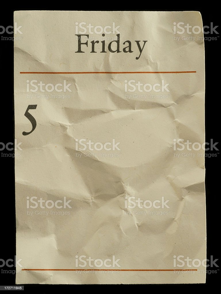 Friday Crumbled royalty-free stock photo