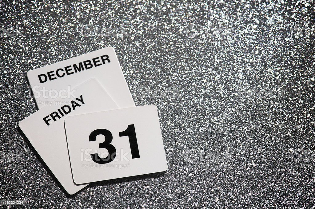 Friday December 31 New Year's Eve Message on Silver royalty-free stock photo