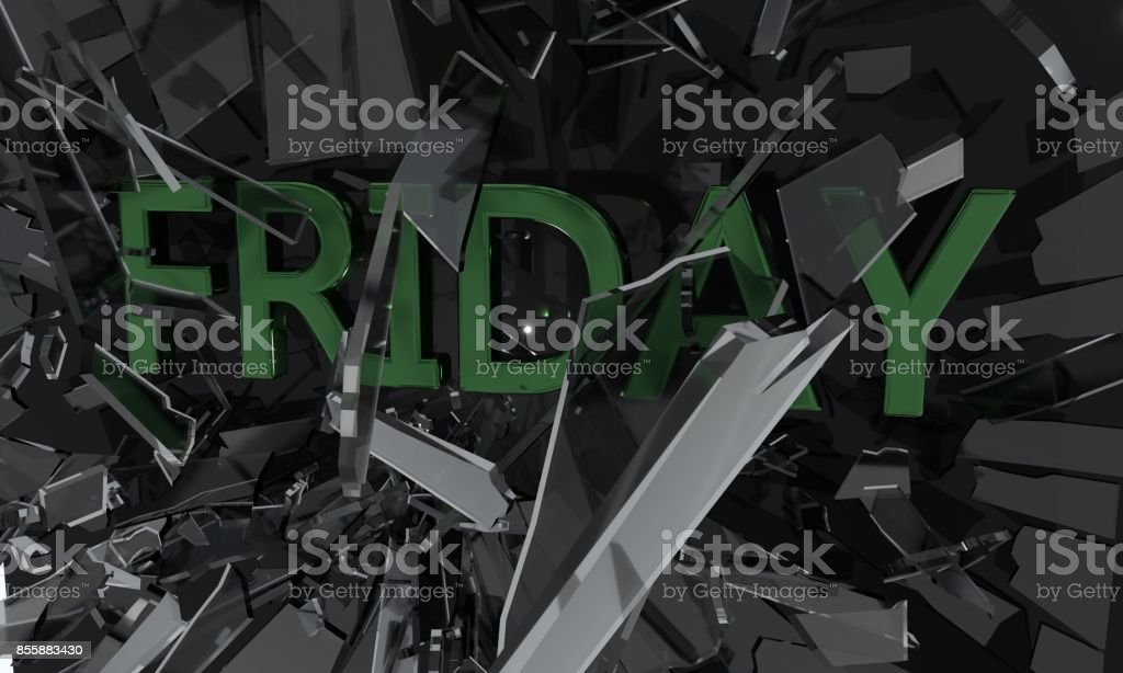 Friday fracture glass, 3d r stock photo