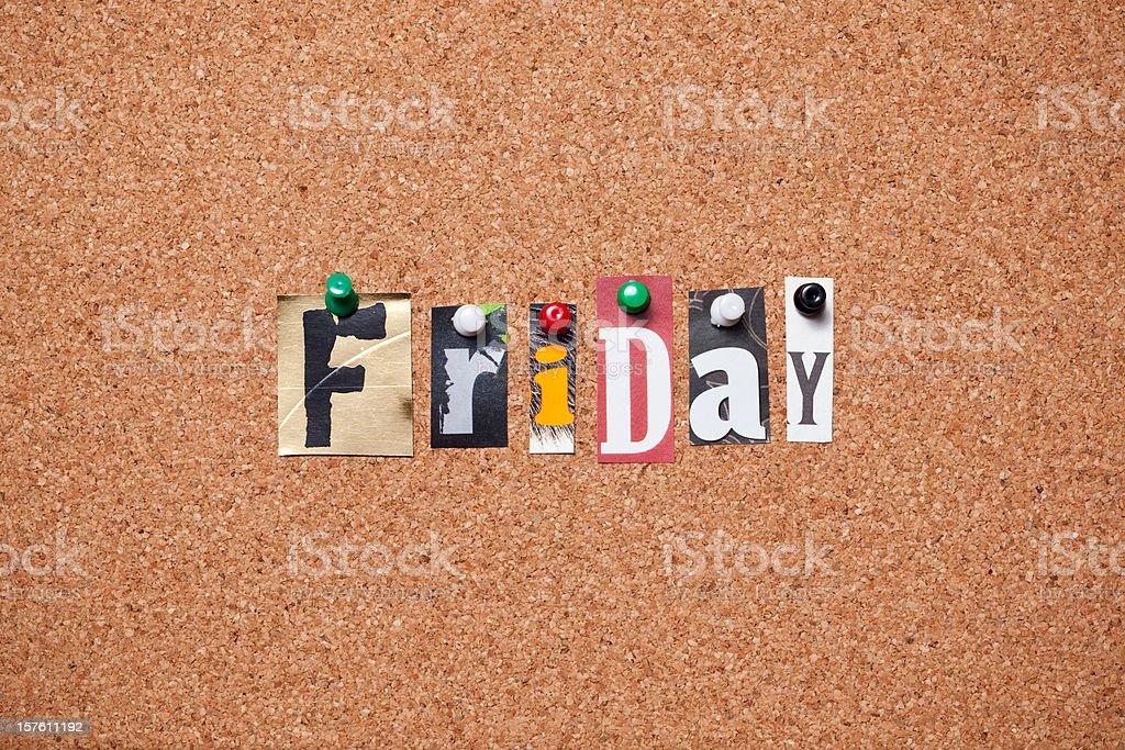 Friday pinned on bulletin cork board royalty-free stock photo