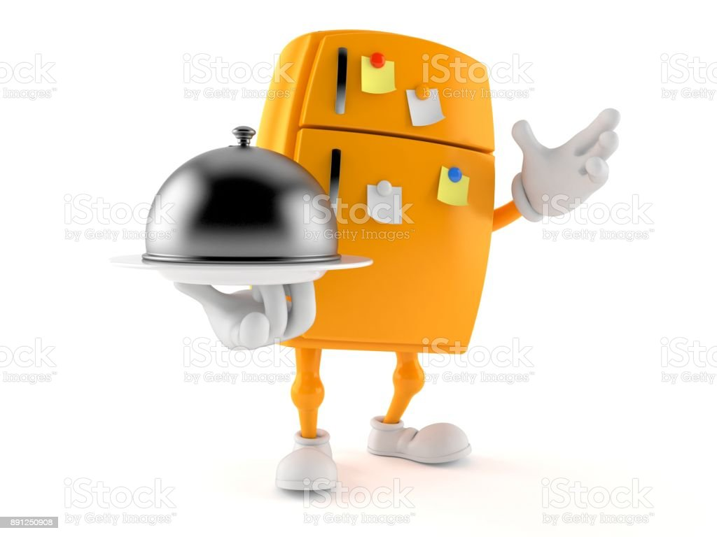 Fridge character holding catering dome stock photo