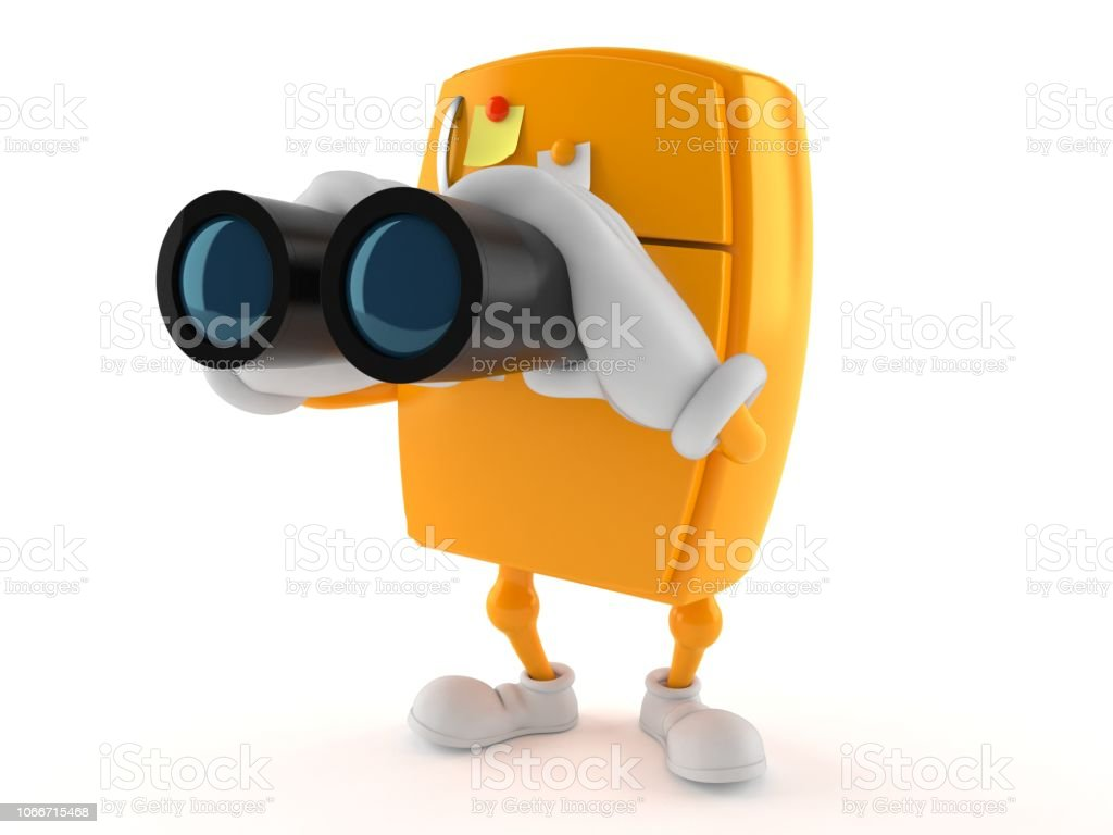 Fridge character looking through binoculars stock photo