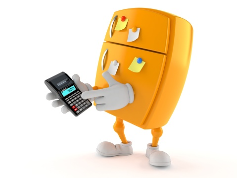 istock Fridge character using calculator 1040871478