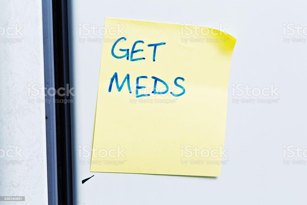 Fridge door reminder says simply \u0027Get Meds\u0027 royalty-free stock photo  sc 1 st  iStock & Fridge Door Reminder Says Simply Get Meds Stock Photo \u0026 More ...