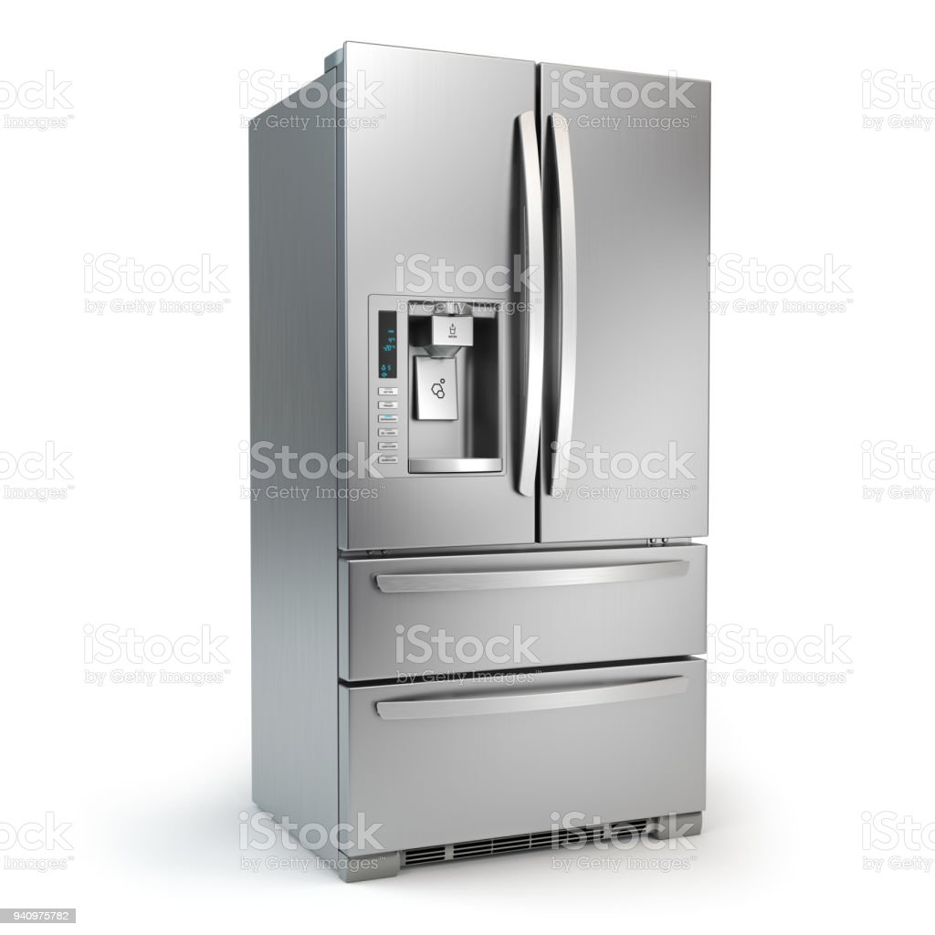 Fridge freezer. Side by side stainless steel refrigerator  with ice and water system isolated on white background. stock photo