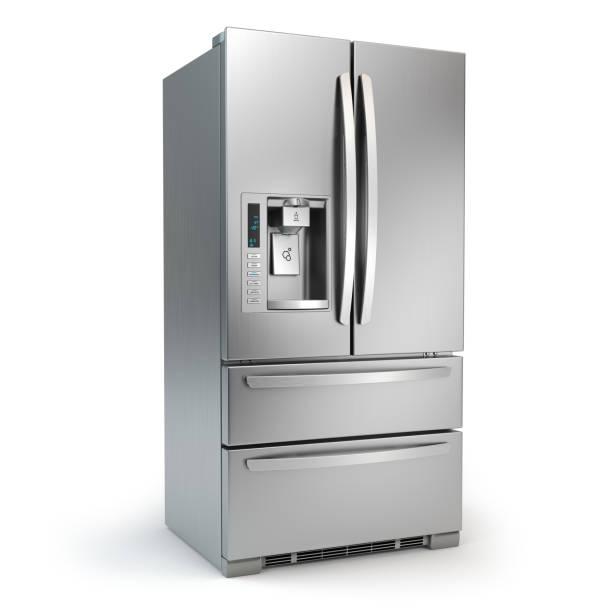 kühlschrank mit gefrierfach. side by side edelstahl stahl kühlschrank mit eis und wasser-system isoliert auf weißem hintergrund. - geschlossene küchen stock-fotos und bilder