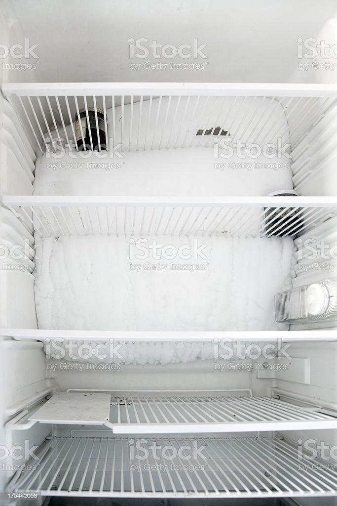 Fridge frozen up with ice stock photo