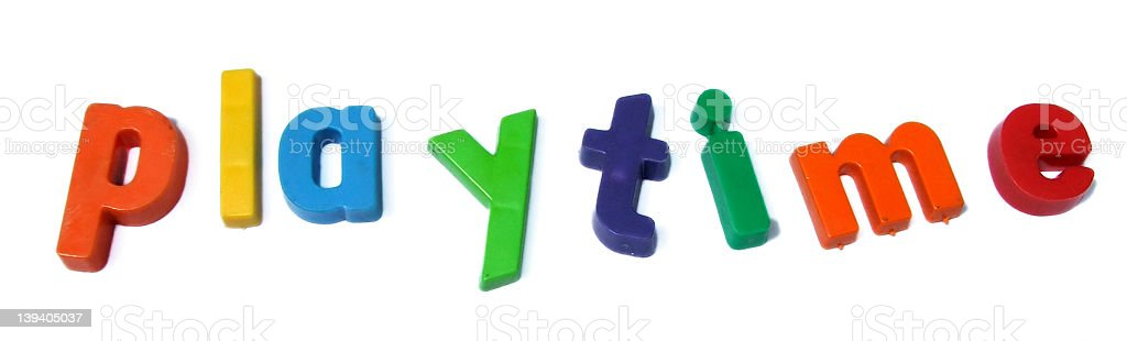 ABC fridge magnets spell Playtime royalty-free stock photo