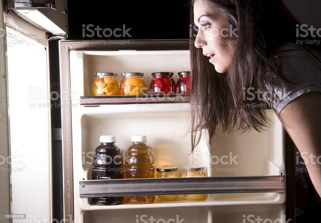 Fridge Raid Pretty Sleepy Woman Insomnia Searches Food Snack Night royalty-free stock photo