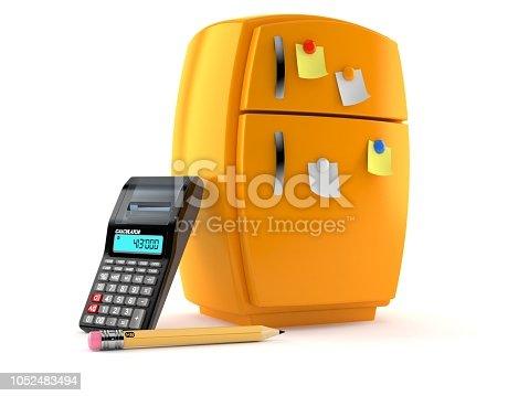 istock Fridge with calculator and pencil 1052483494