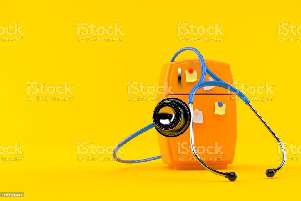 Kylskåp med stetoskop - Royaltyfri Arbetsverktyg Bildbanksbilder