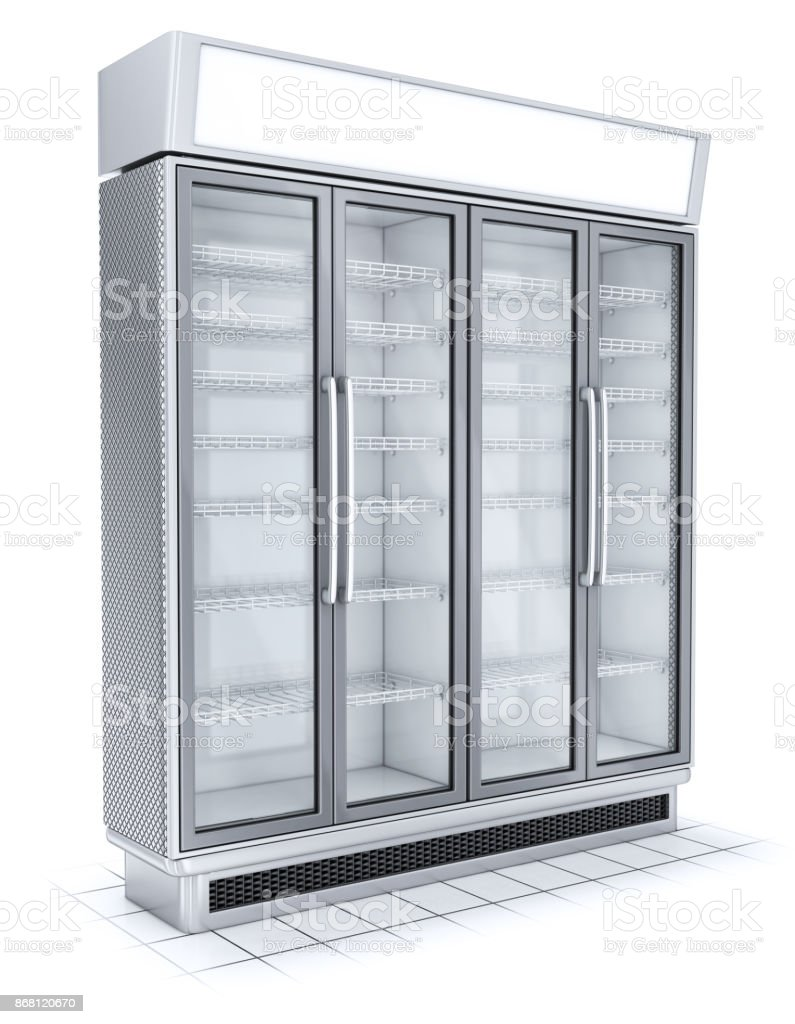 Fridge with transparent glass isolated. Refrigerator showcase on white background. stock photo