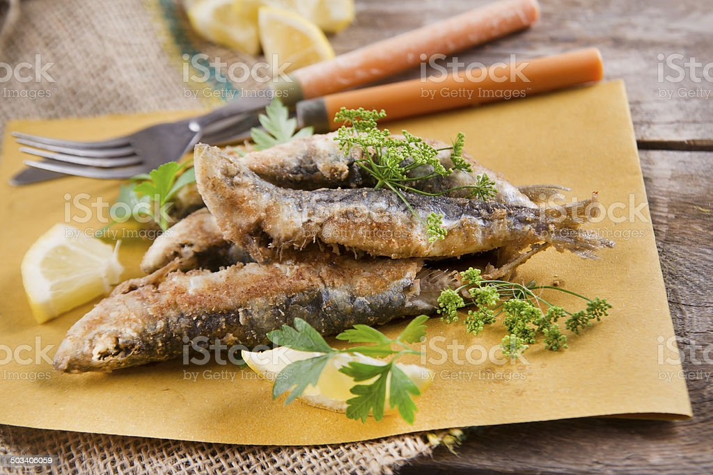 Fried anchovies stock photo