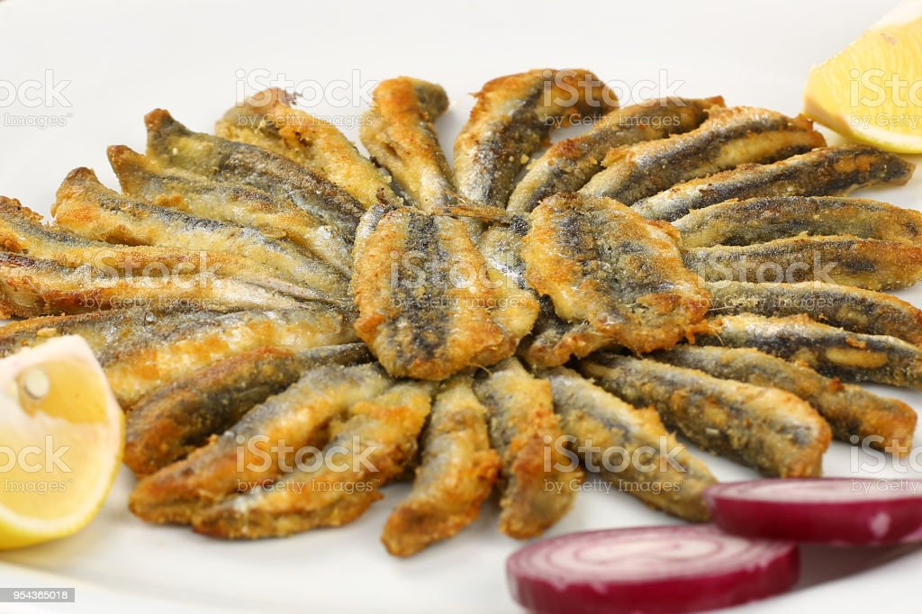 Fried Anchovy stock photo