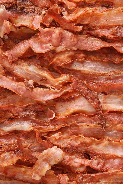 Fried Bacon Background Stock Photo