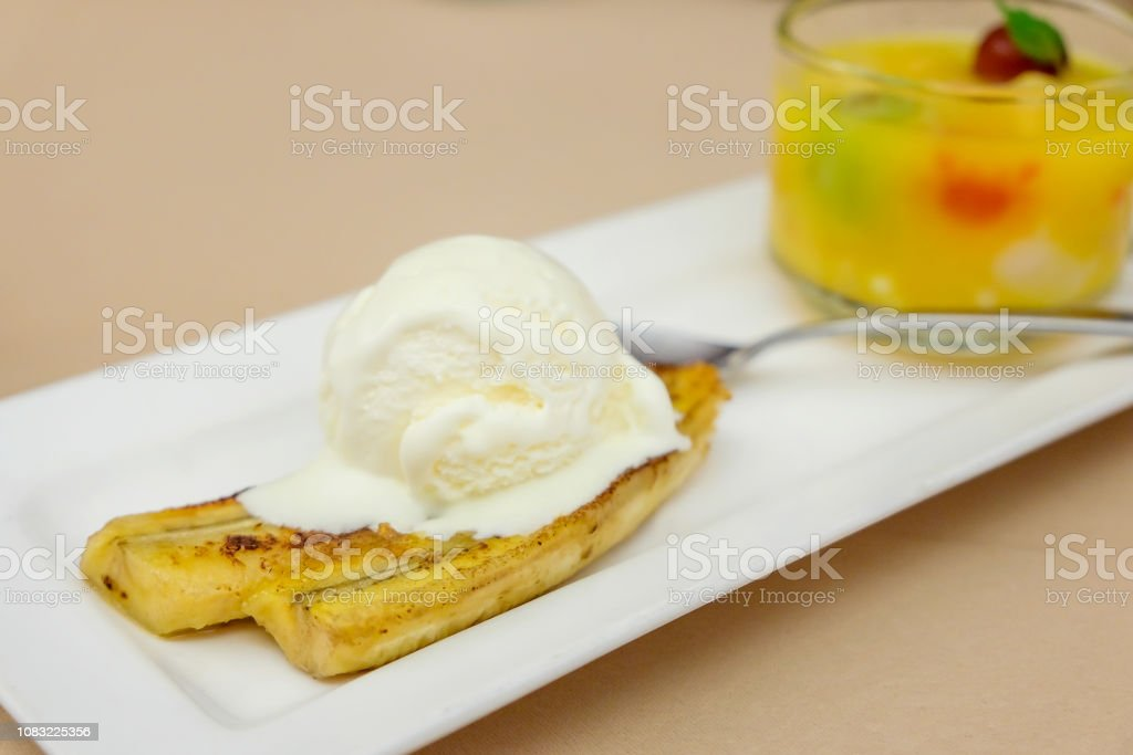 Fried Banana Fritters With Vanilla Ice Cream Stock Photo Download Image Now Istock