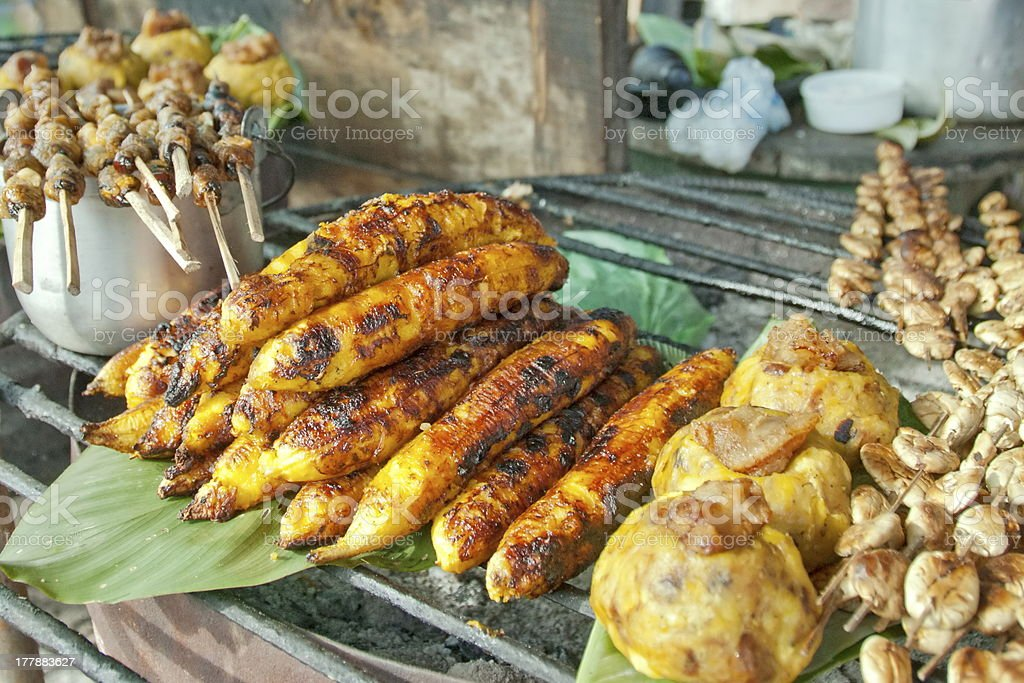 Fried bananas in Iquitos market, Peru. stock photo