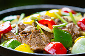 Chinese pepper steak - slices of tender beef stir-fried with red and green bell peppers and onions.