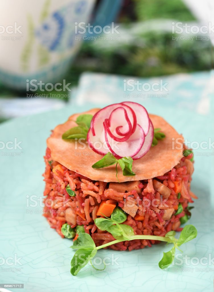 Fried Beetroot Rice with Mixed Veggies stock photo