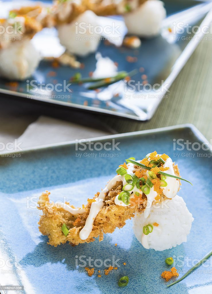 Fried Breaded Sushi royalty-free stock photo