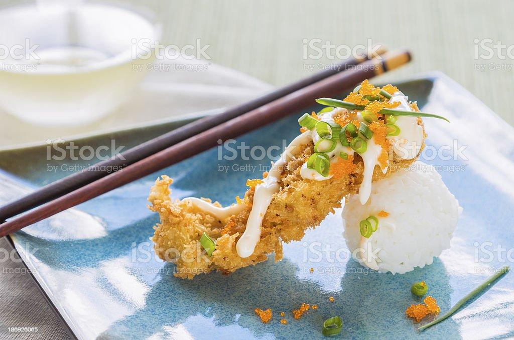 Fried Breaded Sushi royalty-free stock photo