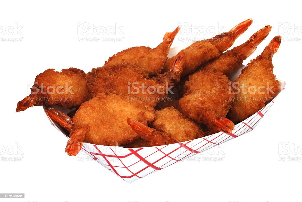 Fried Butterfly Shrimp royalty-free stock photo