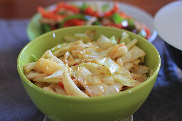 Fried Cabbage Close Up stock photo
