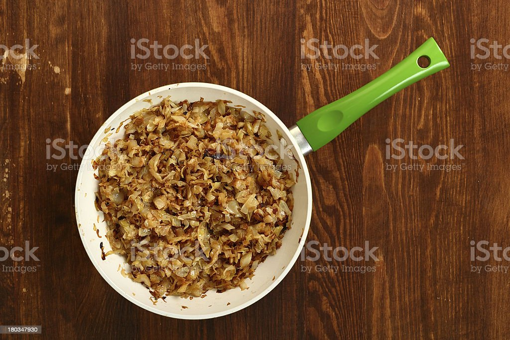 Fried Cabbage. Making. Ready to eat. stock photo