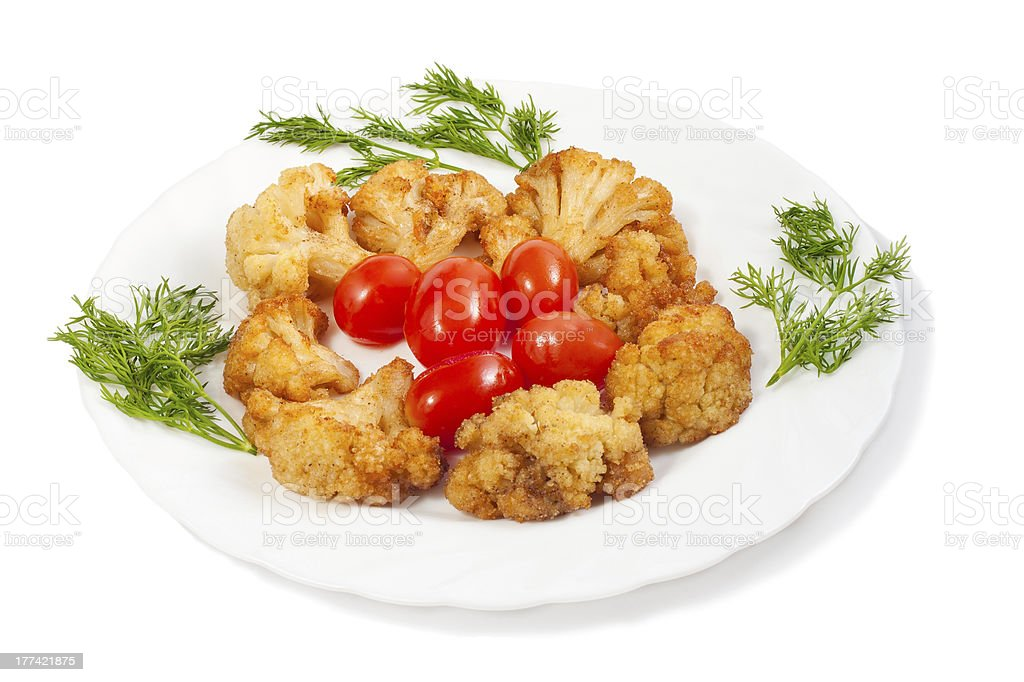 fried cauliflower royalty-free stock photo