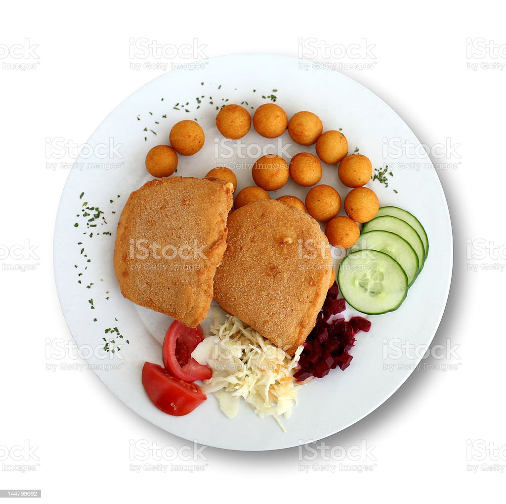 Fried Cheese Isolated on White royalty-free stock photo