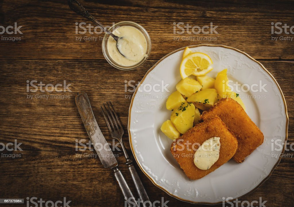 fried cheese with potato stock photo