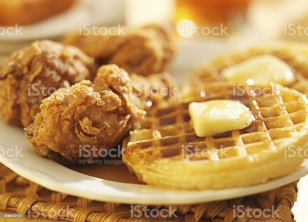 fried chicken and waffles  close up stock photo