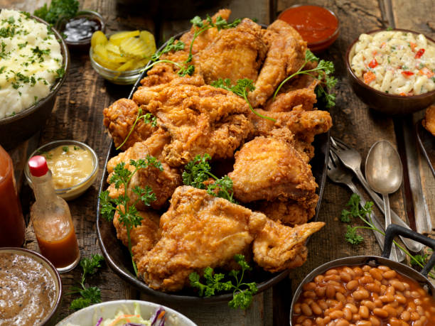 Fried Chicken Feast stock photo