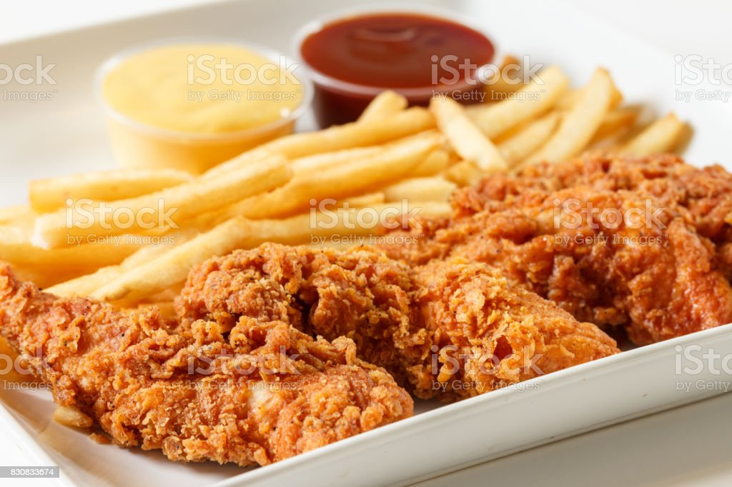 Fried chicken fingers stock photo