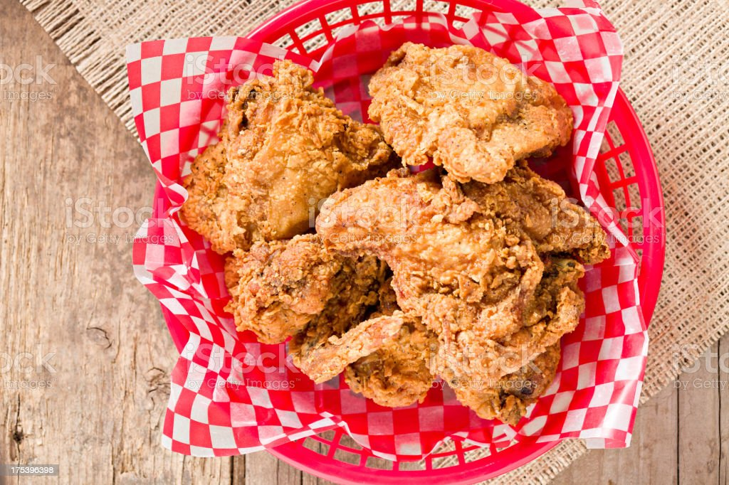Fried Chicken In A Basket royalty-free stock photo