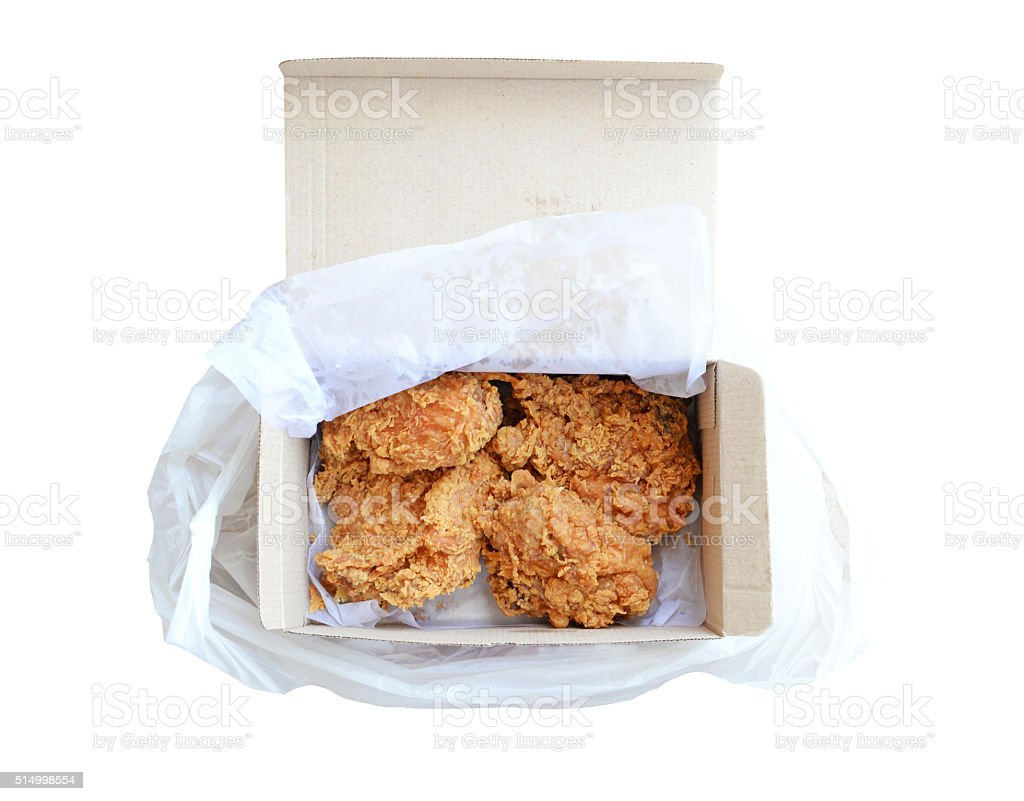 Fried chicken in box, isolated on white. (clipping path) stock photo