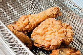Fried Chicken pieces in a wire basket about to be plunged in hot oil.